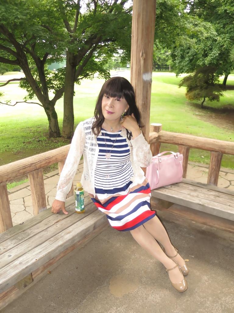 マルチボーダー柄ワンピ公園B(4)