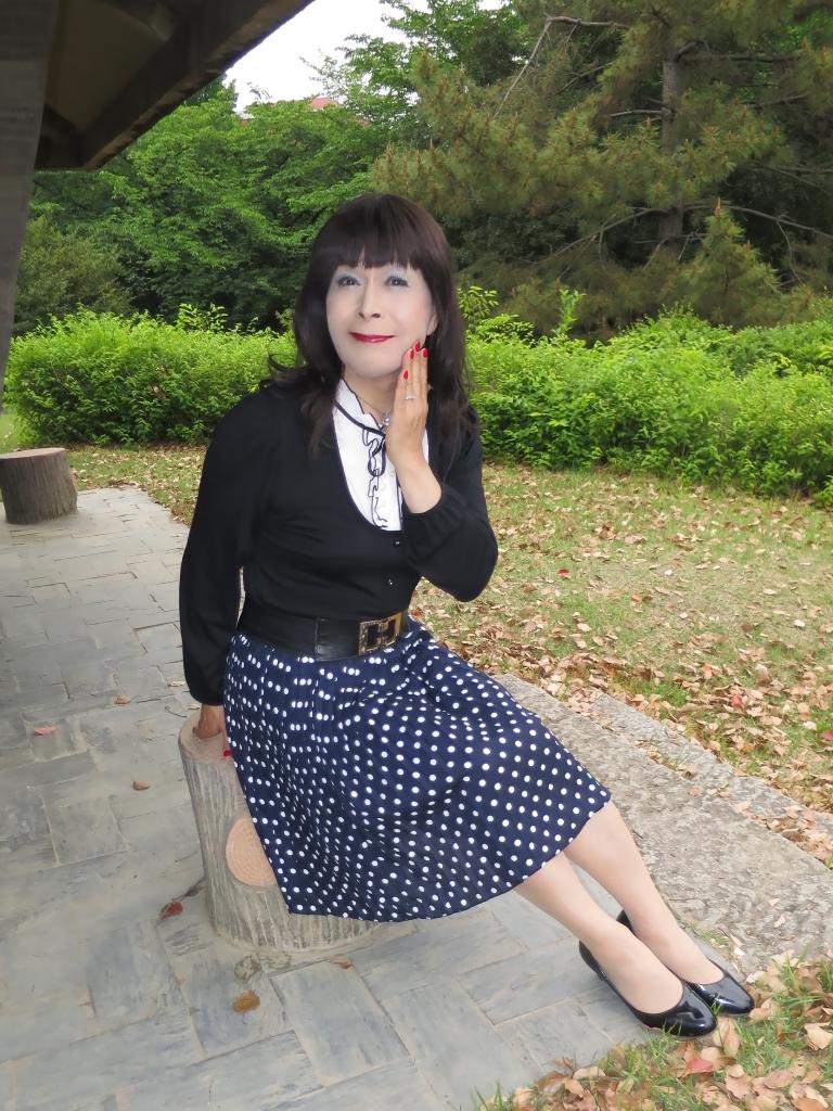 水玉のプリーツスカートA(6)