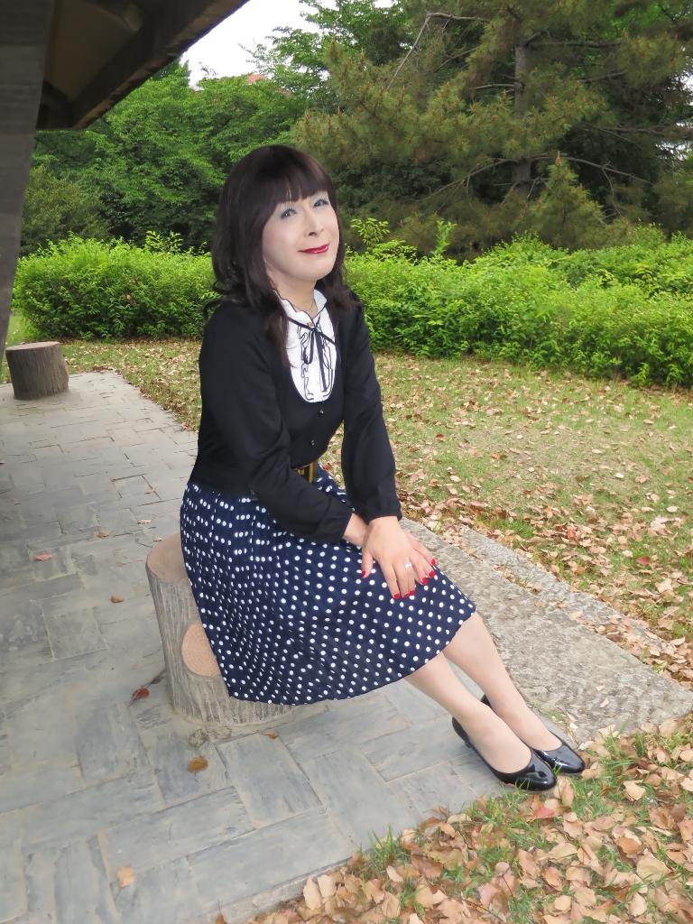 水玉のプリーツスカートA(8)
