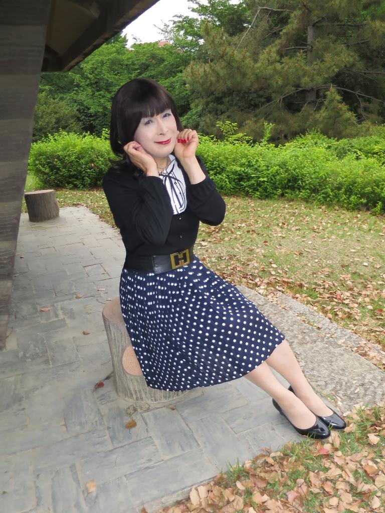 水玉のプリーツスカートA(7)
