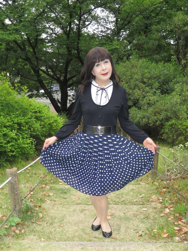 水玉のプリーツスカートB(4)