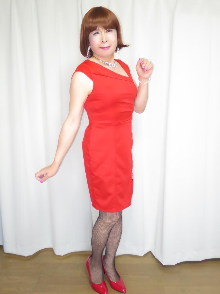 赤タイトジッパードレスA(1)
