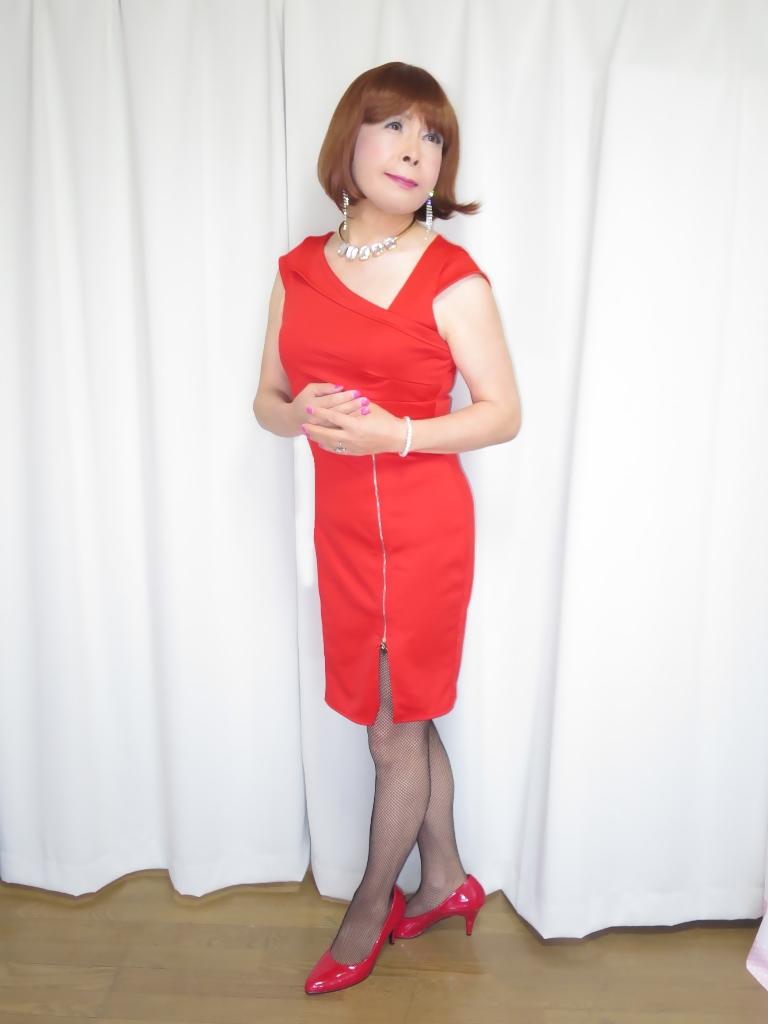 赤タイトジッパードレスA(2)