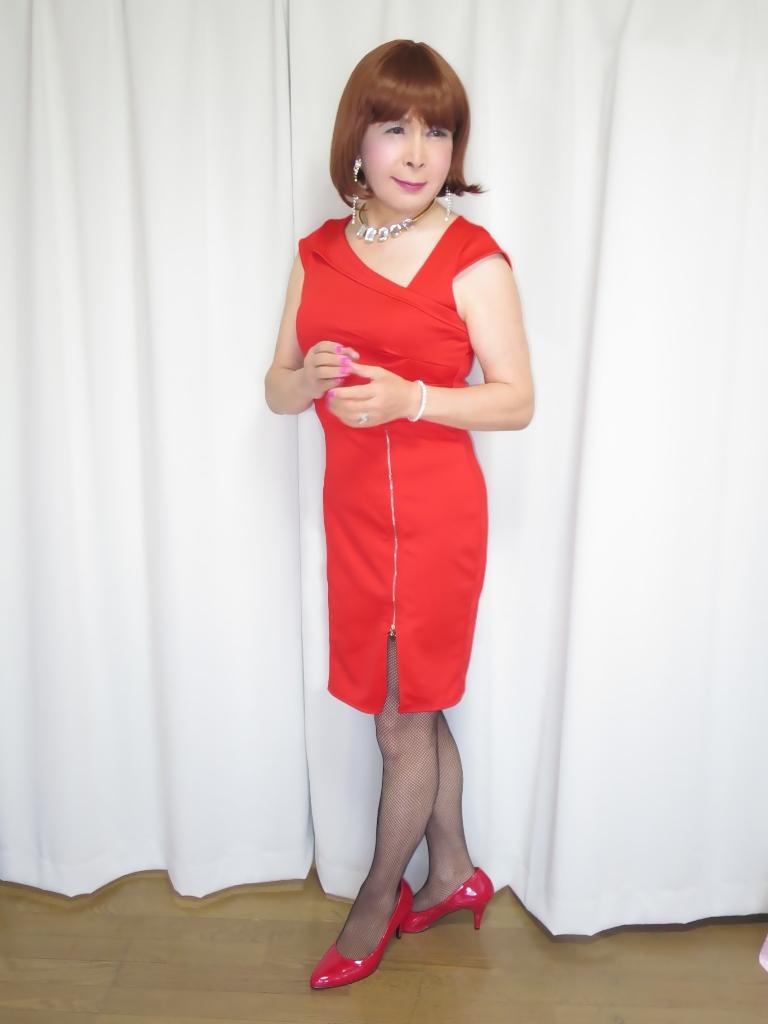 赤タイトジッパードレスA(7)