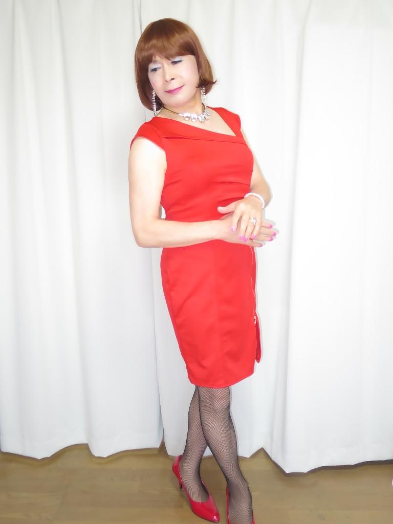 赤タイトジッパードレスA(8)