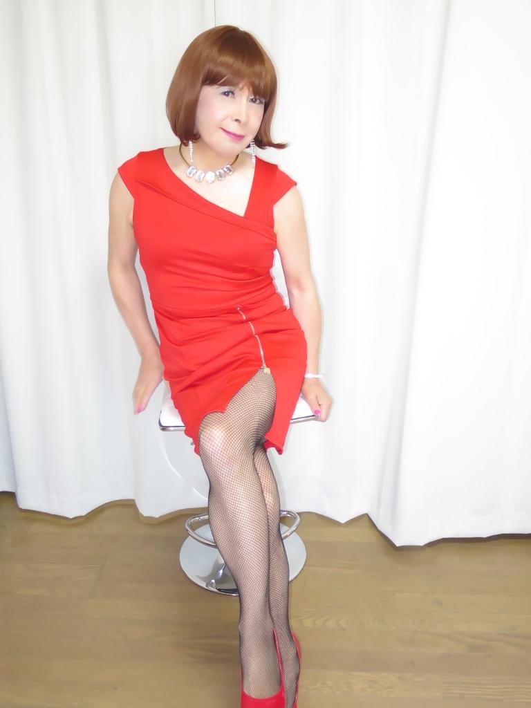 赤タイトジッパードレスB(2)