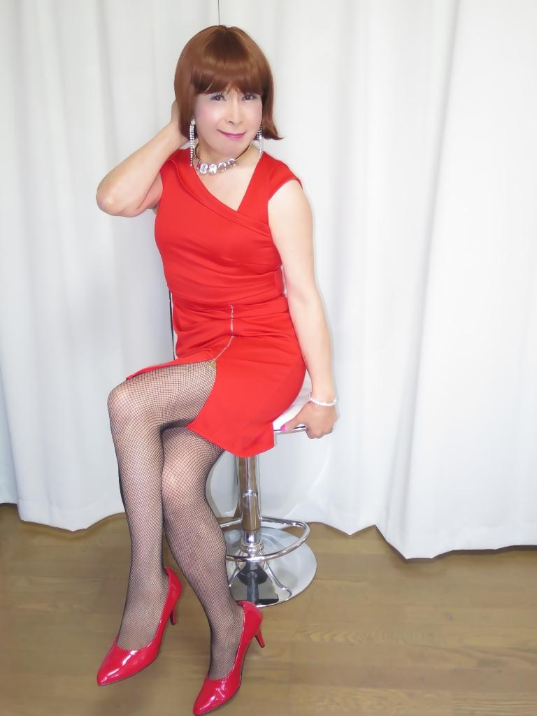 赤タイトジッパードレスB(5)