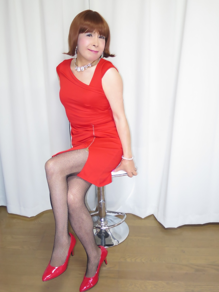 赤タイトジッパードレスB(6)