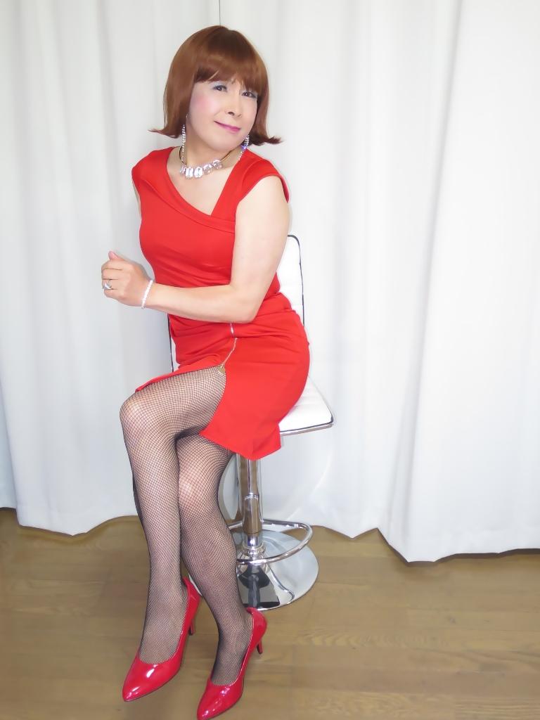 赤タイトジッパードレスB(7)