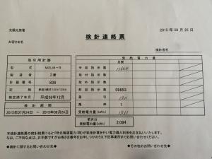 2015年8月分太陽光検針連絡票