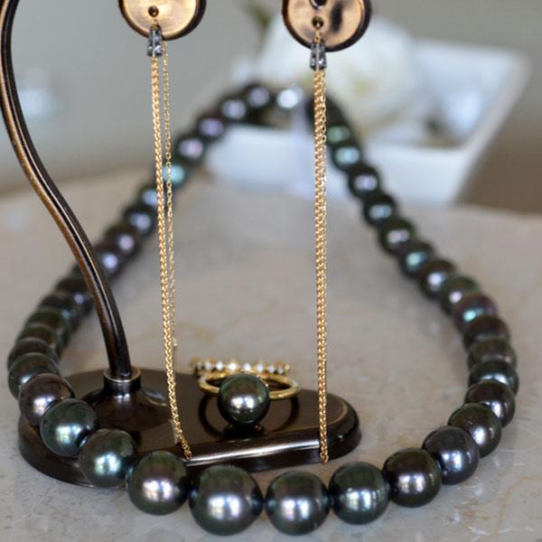 南洋黒真珠ネックレスK18タヒチダイアモンドリングイエローゴールドブラウンダイアモンドロングピアス