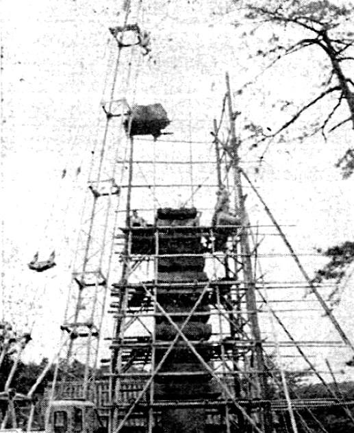 石塔解体修理の有様