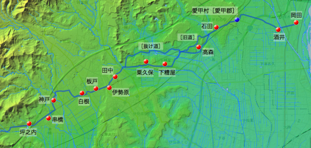 矢倉沢往還:大住郡中の村々の位置(東半分)