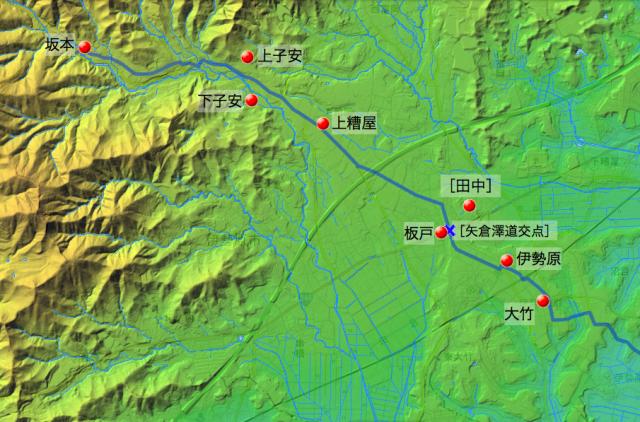 田村通り大山道:大住郡中の村々の位置(西半分).