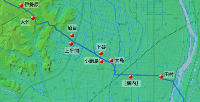 田村通り大山道:大住郡中の村々の位置(東半分)