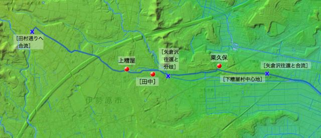 柏尾通り大山道:大住郡中の各村の位置(西半分)