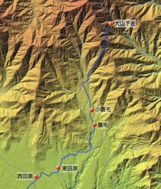蓑毛通り大山道:大住郡中の各村の位置(北半分)