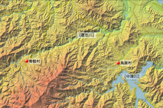 津久井県鳥屋村・青根村の位置