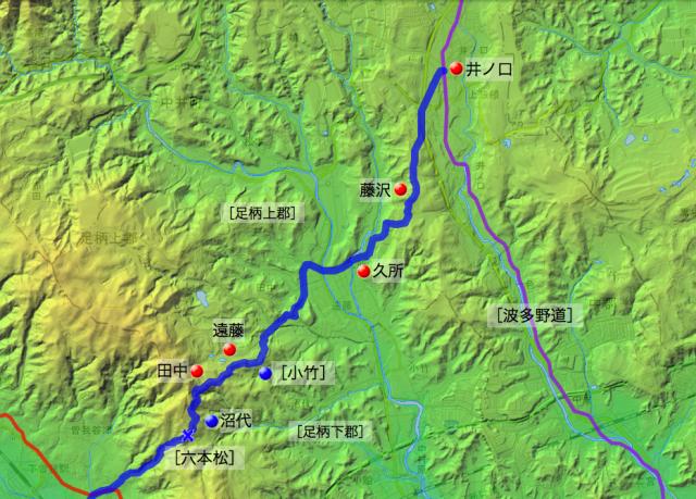 六本松通大山道:足柄上郡・足柄下郡各村の位置(北半分)