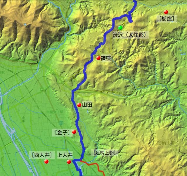 小田原道(蓑毛通り大山道):足柄上郡・足柄下郡各村の位置(北半分)