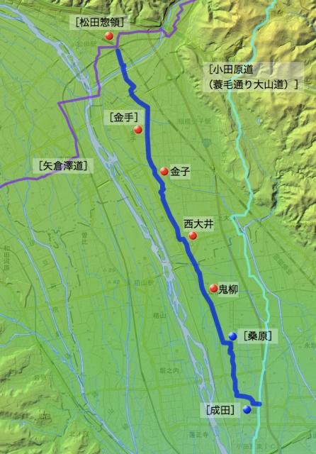 小田原道(鬼柳・西大井経由):足柄上郡・足柄下郡各村の位置
