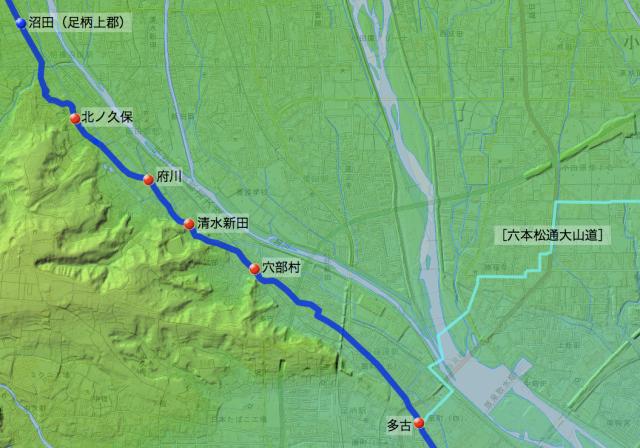 甲州道:足柄下郡各村の位置(北半分)