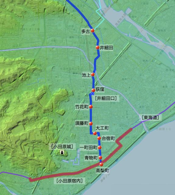 甲州道:足柄下郡各村の位置(南半分)