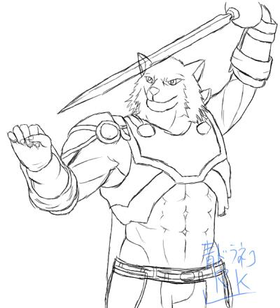 暗黒騎士の狼獣人ラクガキ