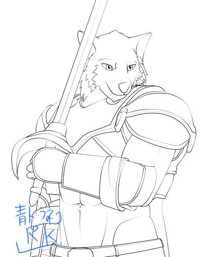 暗黒騎士の狼獣人 構え線画