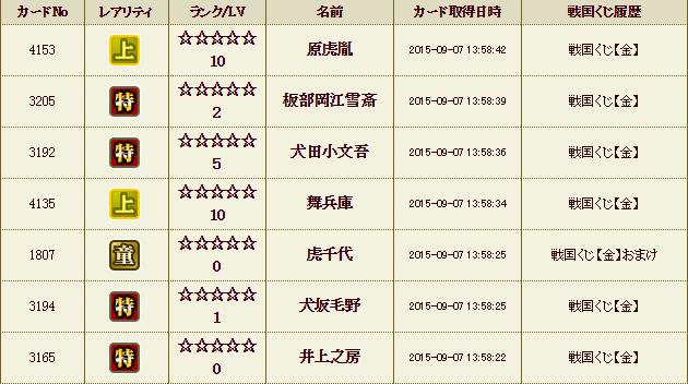 9月7日 くじ履歴1