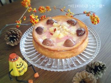 栗と紫芋のチーズケーキ