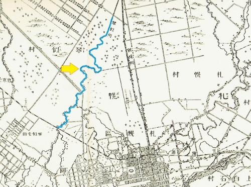 明治29年地形図 旧琴似川中流域