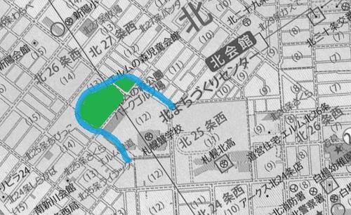 現在地図 北区 エルムの森公園周辺
