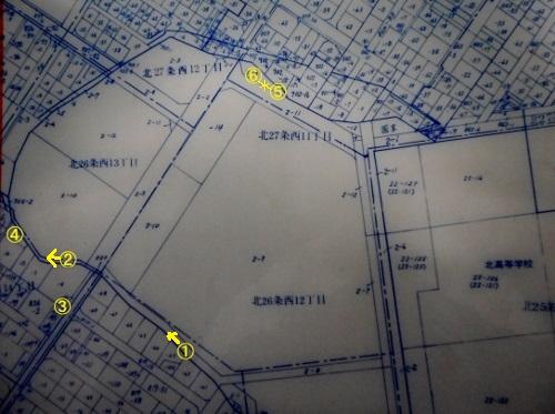 地番図 旧琴似川河道 エルムの森公園周辺
