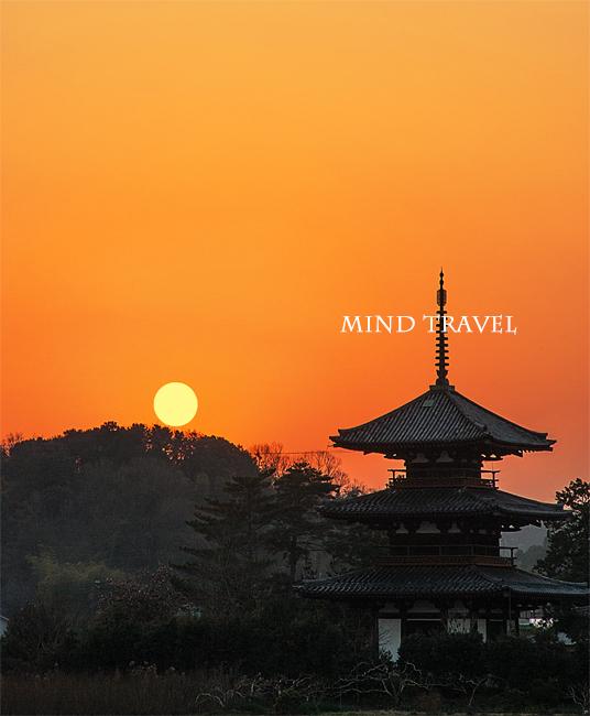 法起寺 夕陽