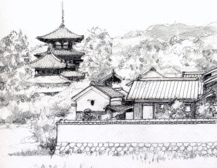 法輪寺付近 グリザイユ (750x580)