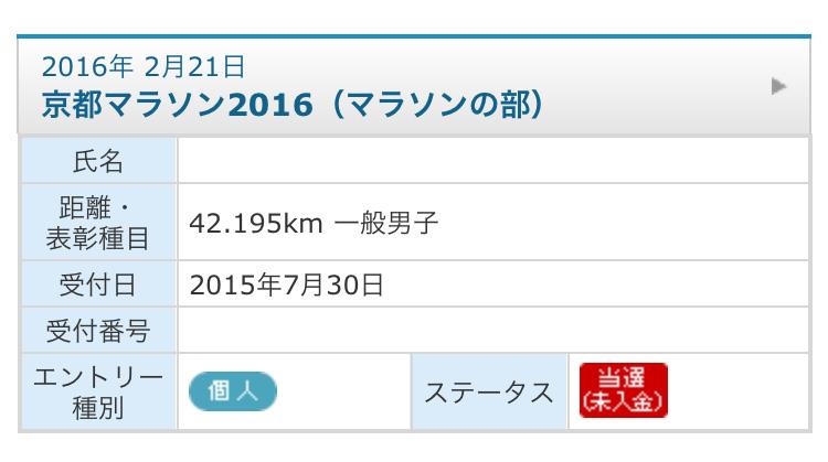 京都マラソン2016当選