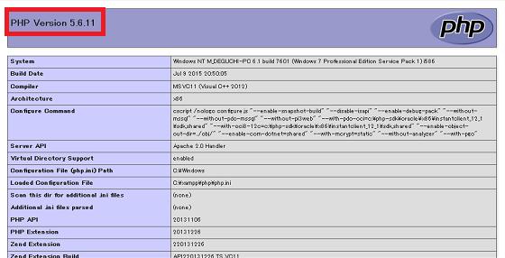 PHPバージョンインフォ