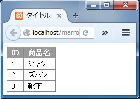 【7】MySQLにPHPからアクセスして表示したリスト