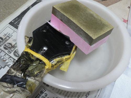 耐水サンドペーパーで加工1