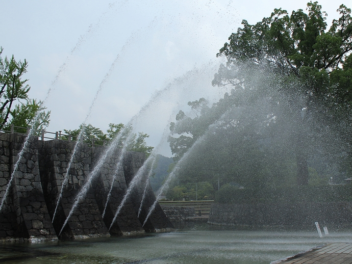 錦帯橋の公園の噴水