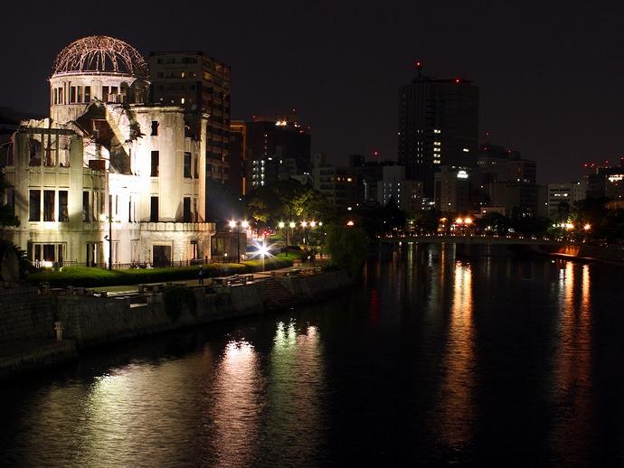 原爆ドームの夜景 相生橋より