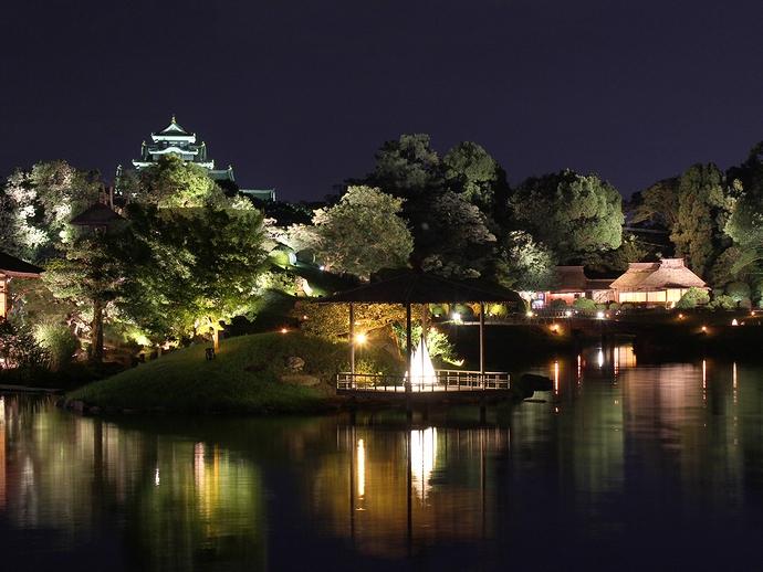 岡山後楽園のライトアップ「幻想庭園」