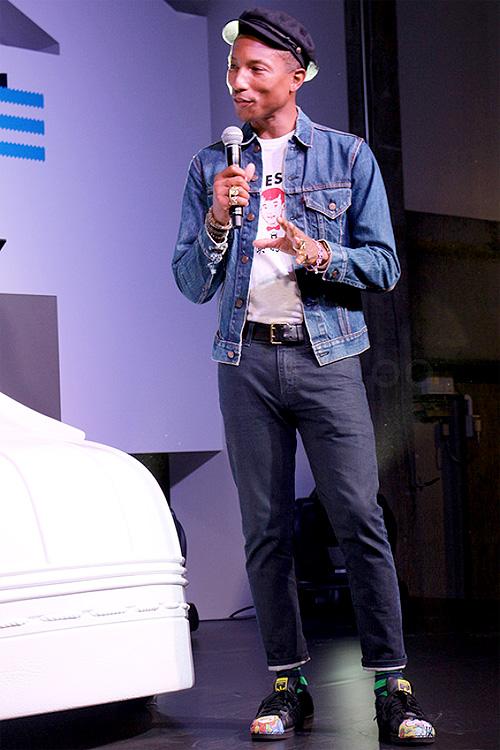 ファレル・ウィリアムス(Pharrell Williams):リーバイス(Levi's)/ヒューマンメイド(Human Made)/ハッピーソックス(Happy Socks)/アディダス(Adidas)