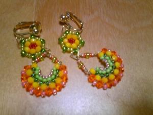 オレンジと緑イヤリング