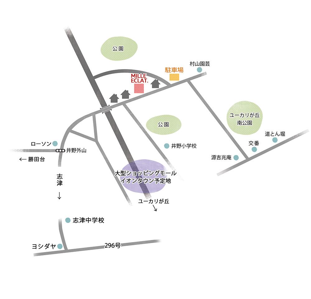 ミルエクラ.までの地図
