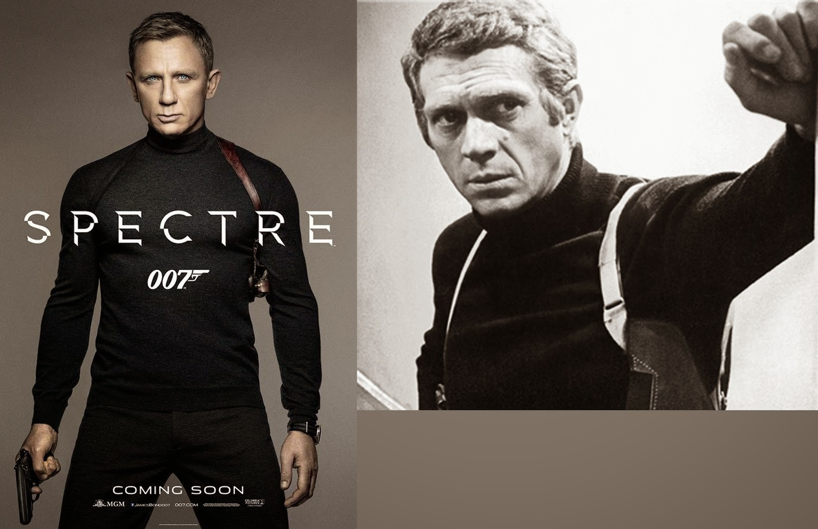 Spectre James Bond Daniel Craig turtleneck Steve McQueen Bullitt comparison