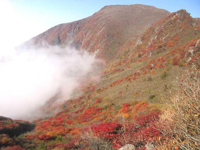 IMG_0045雲の湧く斜面の紅葉