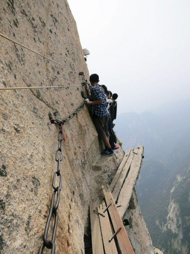 500 11 Traversing the Death Trail on Mt Huashan in China