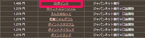 i2iポイントのジャパンネット銀行ポイント数はNo.1!